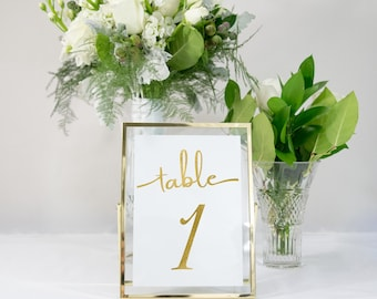 Gold Foil Table Numbers Handmade Wedding Style #0133