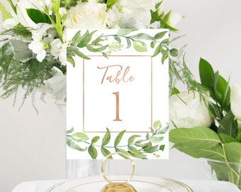 Green Florals and Copper Foil Table Numbers Handmade Custom Wedding #0116