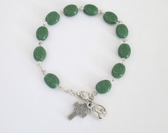 Shamrock Rosary Bracelet ~ Saint St. Patrick Rosary Bracelet w/ ITALY Crucifix Catholic Rosaries Irish Celtic Bracelet