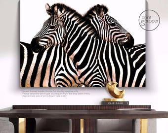 ZEBRA EMBRACE - Black & White - Art Print Poster Canvas - On Trend