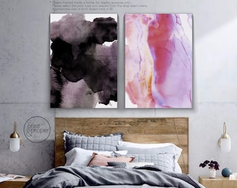 ABSTRACT WATERCOLOUR Black & Pink - 2 x Wall Art Print Canvas - On Trend