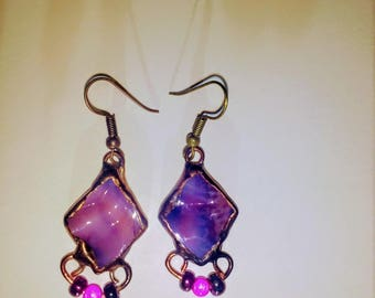 Rosy pink and purple colored stained glass earrings