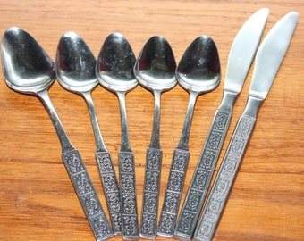 7 Pieces Stanley Roberts Burguntine Japan Stainless Steel Flatware -- Spoons, Knives-- Velvet,Square, Floral, Flower, Textured, Accent,Black