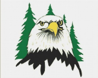 Bald Eagle Counted Cross Stitch Pattern / Chart, Instant Digital Download (AP067)