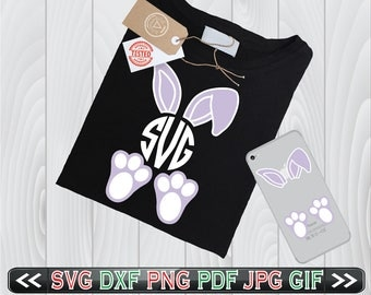 Bunny Ears and Feet SVG Files Easter Face Monogram Designs - Bunny Feet SVG - Easter SVG Files - Easter Bunny Ears Svg