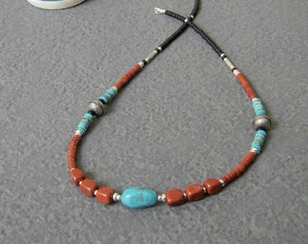 Nevada Turquoise Necklace, Southwestern Necklace, Inspired by, Native American Jewelry, Womens Beaded Necklace, OOAK Necklace