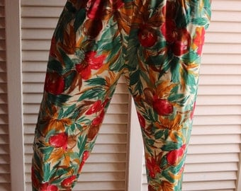 Vintage Floral Fruit Pants