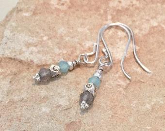 Blue and gray drop earrings, labradorite earrings, chalcedony earrings, dangle earrings, sundance style earrings, Hill Tribe silver earrings