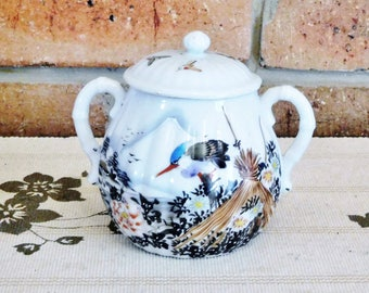 Japanese 1940s twin handled bone china sugar bowl with lid, blue wren motif
