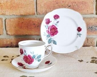 Duchess fine bone china 1960s footed tea cup trio, deep red roses, 24K gilt, high tea