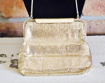 Glomesh vintage 1960s small gold mesh bag, push clasp, gift idea, costume movie prop