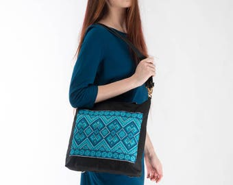 Tote bag with leather handles / Tote bag with zipper/ Black backpack for woman/ Crossbody bad with hand Ukrainian embroidery/ Ukrainian gift