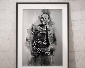 Chester Bennington print Chester Bennington poster Linkin Park  wall art home decor