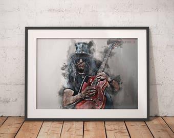 Slash poster Slash print Guns N' Roses wall art, home decor