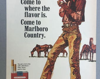 1967 Marlboro Cigarette Print Ad - Illustrated Print