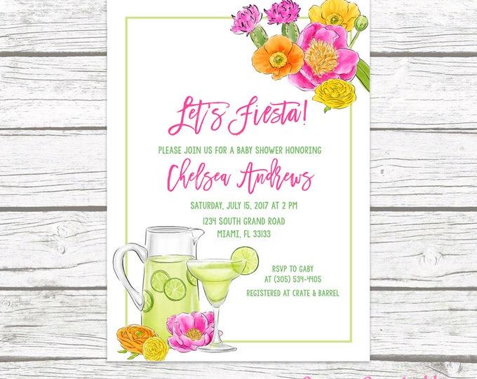 Fiesta Baby Shower Invitation, Margarita Baby Shower Invitation, Margaritas Baby Shower, Let's Fiesta, Tropical Baby Shower Invite