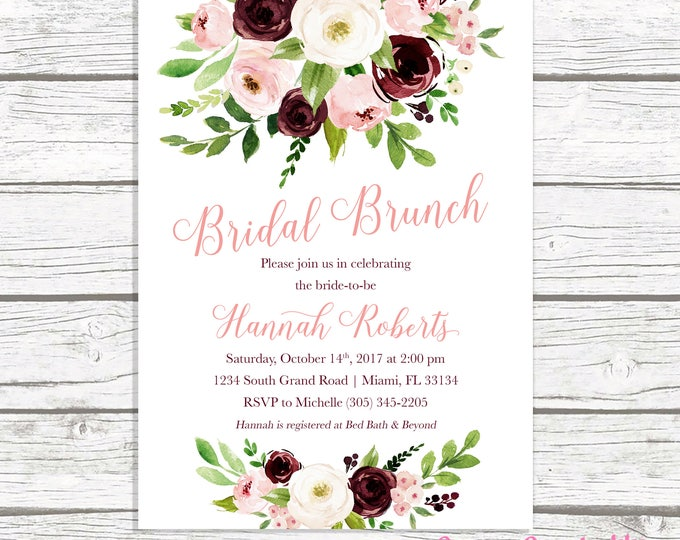 Bridal Shower Brunch Invitation, Burgundy Marsala Bridal Shower Invitation, Bridal Brunch Invitation, Fall Bridal Shower, Printable Invite