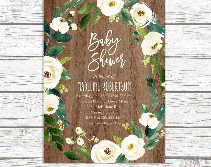 Rustic Wood Baby Shower Invitation, Gender Neutral Baby Shower Invitation, Floral Wreath Baby Shower Invitation, Garden Baby Shower Invite
