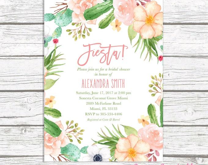 Fiesta Bridal Shower Invitation, Cactus Bridal Shower Invitation, Succulent Bridal Shower Invite, Pink Floral Wreath Bridal Shower