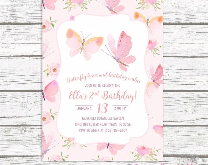 Butterfly Birthday Invitation, Butterfly Invitation, Pink Butterfly Birthday Invitation, Girl 1st First Birthday Party Invitation