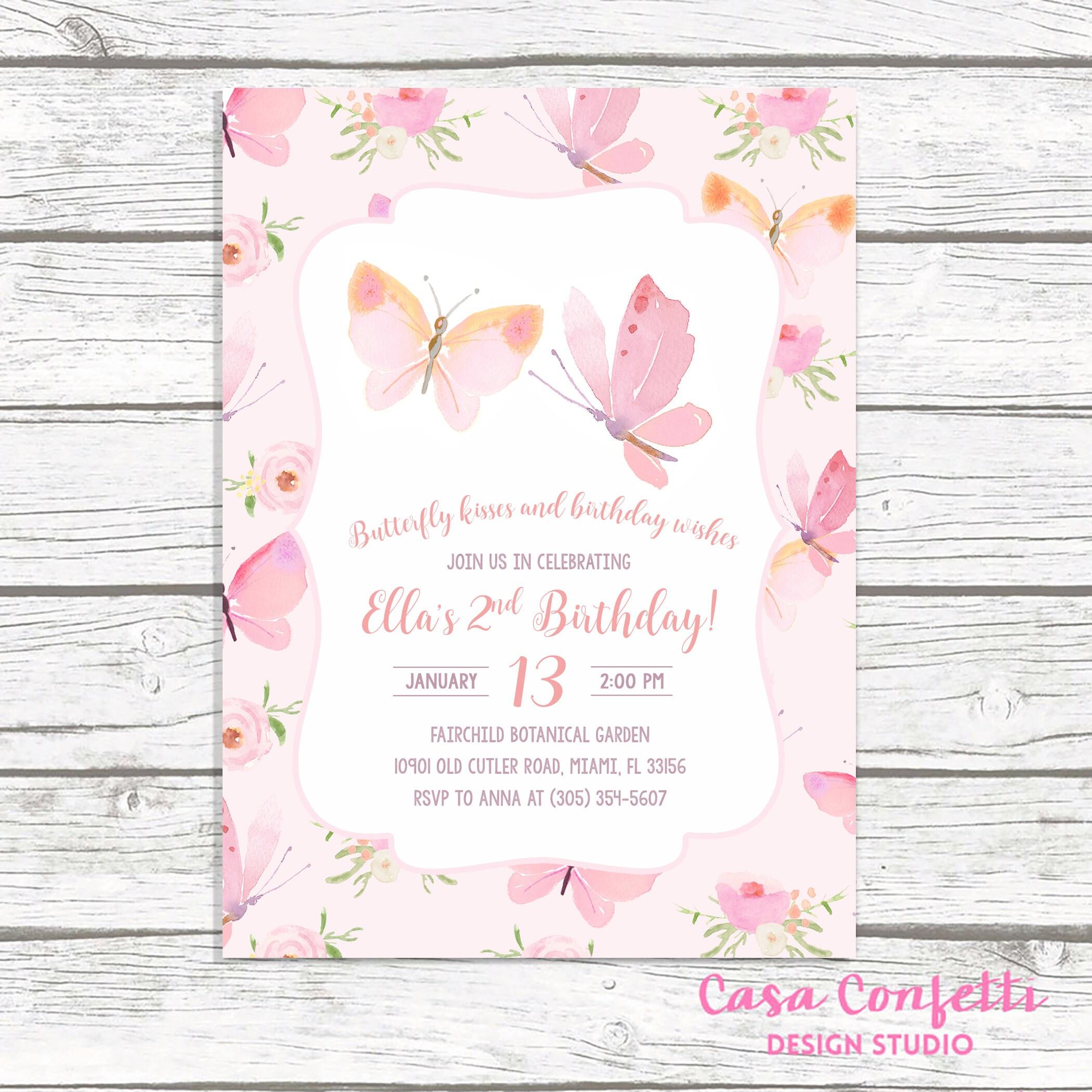Butterfly Birthday Invitation, Butterfly Invitation, Pink