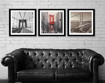Set of 3 Bridges Print, New York, San Francisco, City Wall Art, World Cities, Famous Icons, Bridges Art, Golden Gate Bridge Art, Brooklyn