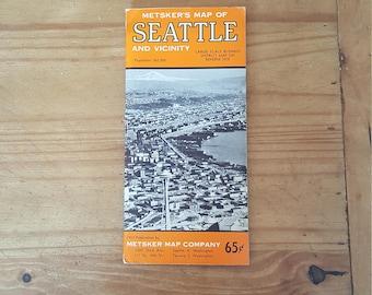 Vintage Metsker fold-out color map of Seattle, 1963