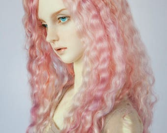 Rose mix long angora wig for BJD  8-9