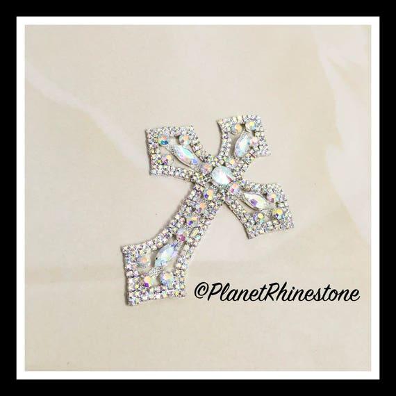 Medium  - Rhinestone Cross Applique/ Swarovski Shine/ Baptism/ first communion #CR-2