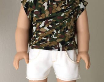 "Doll clothes for 18 inch dolls such as American Girl dolls:  ""camo print"" tee shirt with cream denim cut-off jean shorts"