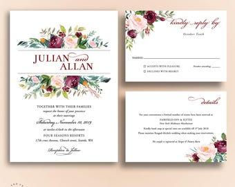 Floral Wedding Invitations, Bohemian Wedding Invitation Set, Fall Wedding Suite, Winter Wedding Invite Suite, Marsala Burgundy Blush- Julia