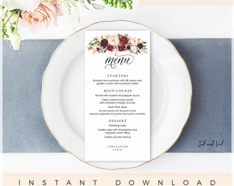 DIY Editable Menu Template, Wedding Menu Template, Printable Wedding Menu Card, Instant Download 5x7 4x8, Burgundy Blush Marsala- Kylie