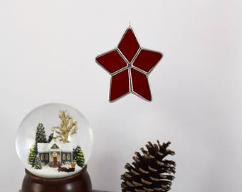 Star Ornament, Gift for Mom, Gift for BFF, Star Sun Catcher, Glass Star Decoration Country Star Glass Keepsake Ornament Made In USA