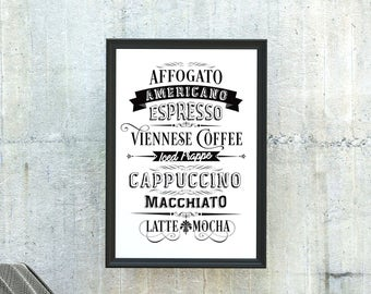 Coffee Poster: Typographic Print of some of your favourite coffees