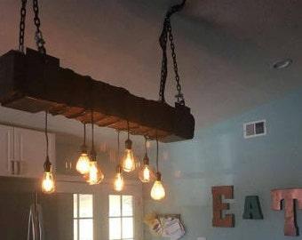 Railroad tie chandelier