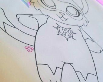 LPS Superhero Cat Coloring Page