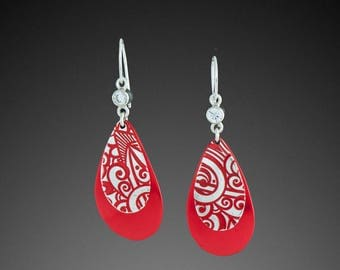 Modern Earrings in Red and Silver