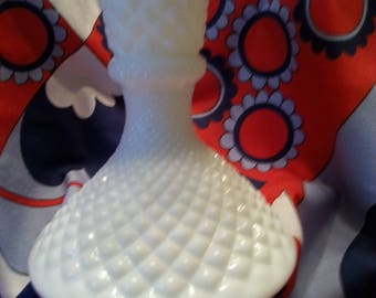 Westmoreland Vintage Milk Glass Taper Candle Holder; English Hobnail (Diamond Pattern)