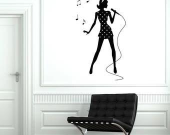 Singer Vinyl Wall Decal Silhouette Woman Girl Singing Karaoke Stickers Mural (#2652di)