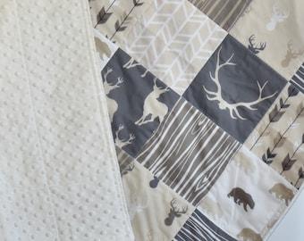 Beige and cream quilt, minky quilt, woodland nursery, deer nursery, adventure,  toddler quilt
