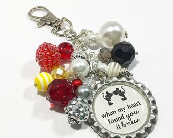 Minnie & Mickey Mouse Purse Charm Keychain / Disney Quote Love Wedding Anniversary Bridal Shower Gift / Bottlecap Pendant Beaded Jewelry
