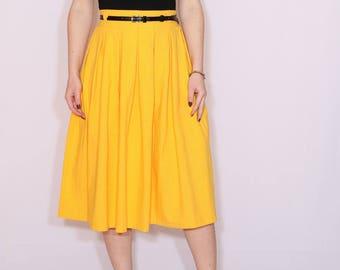Yellow skirt Cotton skirt High waisted midi skirt with pockets Women skirt