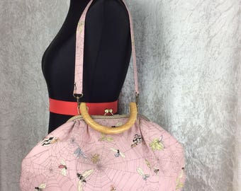 Betty Ghastlie Web Moth frame bag. Fabric handbag purse Alexander Henry handmade in England
