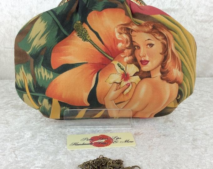 The Alice Burlesque Pin Up frame bag Alexander Henry design Pin Up Mirage fabric small Frame handbag purse makeup bag handmade in England