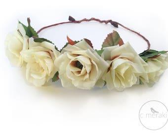 Off White Flower Crown // Flower Wreath