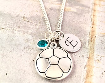 Soccer charm necklace, Personalized initial necklace, sport charm necklace, soccer team gifts, soccer coach gift, for birthday, party favor