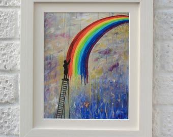 Paint Rainbows, Giclee Art Print, Rainbow Art, Boys Nursery Print, UK Seller.