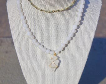 White Glass Bead Necklace with Arrowhead
