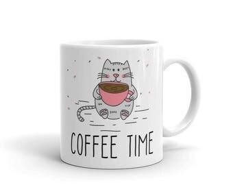 Coffee Time Mug | Cute Cat Coffee Mug For Cat Lovers Gift Mug | Funny Cat Coffee Mug