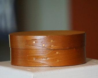 Small Handmade Shaker Style Box/ Oval Wood Box